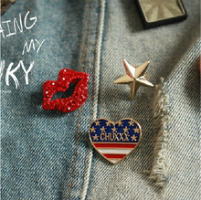 3 Kinds/lot Hot Selling Fashion sexy red lips rhinestone brooch pin up Heart Star Brooch Pins Fit for cachecol
