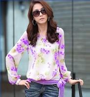 Korean Fashion Womens Floral Print Chiffon Tops Long Sleeve Shirt Casual Blouse Camisas Femininas