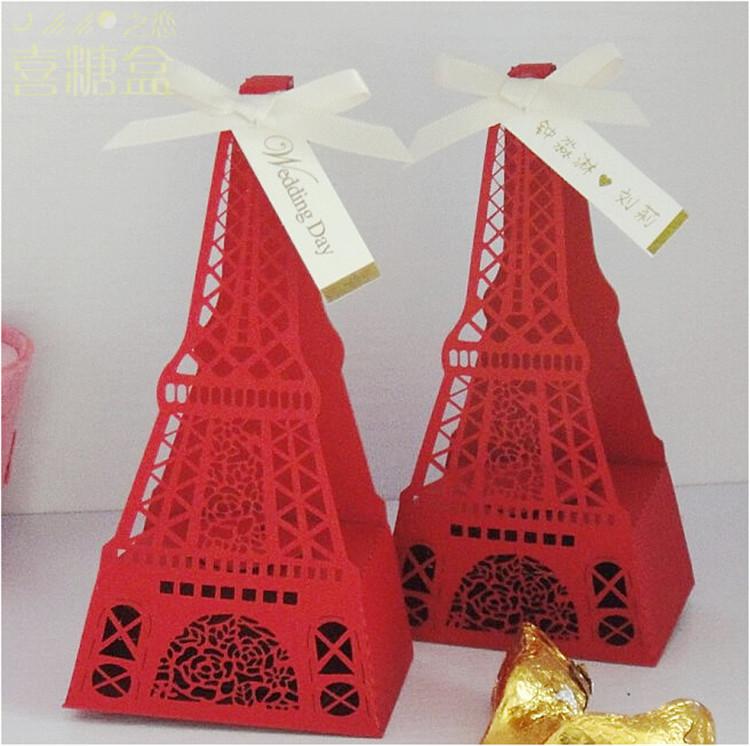 200 pcs novidade 3 cor torre Eiffel caixas do favor do casamento e presente doces caixa de embalagem de chocolate com fitas + balão presente(China (Mainland))