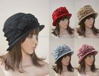 A102 Womens Flower trimmed Crushable Wool Beanie Cap Bucket Crochet Hat 4-Colors