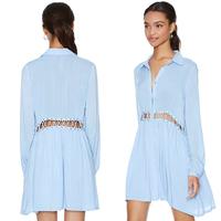 women dress summer Around the rope cutout light blue turn-down collar loose women dress