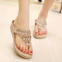 2014 summer new Europe and America 's most popular flowers frosted glass rhinestones in a low heel sandals to help