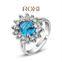 ROXI Brand Luxury Fashion Wedding Engagement Ring Platinum Plating CZ Austrian Crystal SWA Element Rings Jewelry Free shipping(China (Mainland))