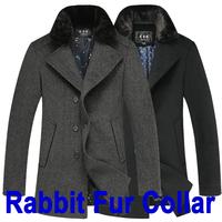 2014 Fashion Men Coats & Jackets Winter Rabbit Fur Collar Thick Men's Woolen Coat New Casual Wool & Blends Outdoors Overcoat 3XL