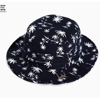 2014 summer Korean fashion wild tree coconut palm flat cotton bucket hats  fisherman cap sunhat for men and women wholesale
