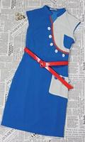 H&Q 2014 new runway brand summer fashion brief formal V-neck button blue white patchwork plus size one piece dress S,M,L,XL,XXL