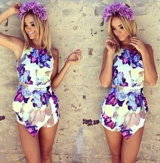 Floral Print Chiffon Jumpsuit Women Skirt Shorts Leggings Halter ...
