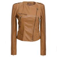 2014 autumn new women casual leather jacket  outwear coat motorcycle leather jackets women short leather jacket Women clothing
