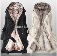 Hot Sale 2014 Faux fur lining women's winter warm long fur coat jacket clothes wholesale Free Shipping   A026