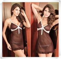Hot 2014 Voile Bow Crystal Sexy Lingerie Fantasia Erotil Pajamas Underwear Costumes Sleepwear Dress Set For Women