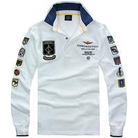 New 2014 Brand Men Slim Fit Shirts For Men Aeronautica Militare Air Force One Brand T Shirt Polo Sleeve Full Shirt