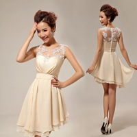 New 2014 Bride and Bridesmaids Fashion Short Design Lace Dress Dinner Party Champagne Color