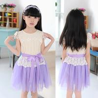Kids girls summer 2014 Korean new children's dress baby short sleeve lace dress princess veil 12years old kids girls wear
