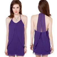 womens summer dress summer elegant purple chiffon racerback cutout on both sides chiffon slim womens summer dress