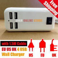 Free shipping 4 ports USB EU UK US Wall Charger With 1.5M for iphone AC Power Adapter for cell phone mobile phone charger