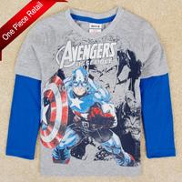 2014 Childrens T shirts Nova Kids Boy The Avengers Clothing 100% Cotton Long Sleeve Baby Boys T shirt Drop Shipping