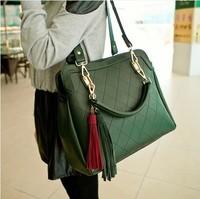 2014 New Tassel Women Big Messenger Bags Spring and Summer Lingge PU Leather Handbags Motorcycle Bag Shoulder Bags Totes WB2051