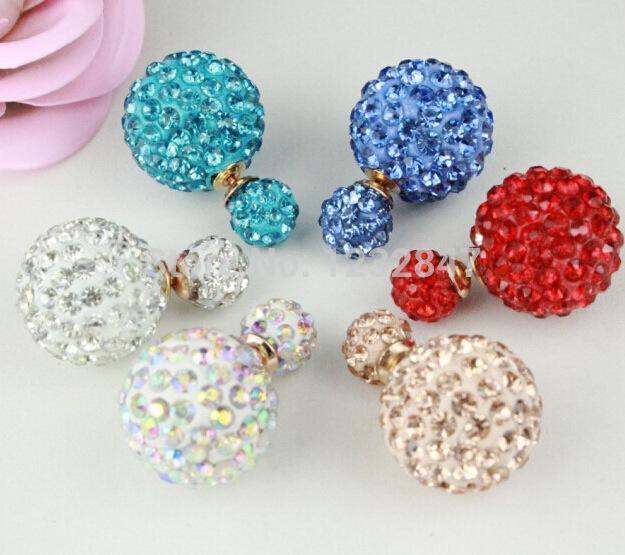 Newest Fashion Hot Selling 1.6X0.8cm Pearl Stud Earrings Double Sides Stud Earrings Wedding Women Jewelry Crystal Pearl Earrings(China (Mainland))