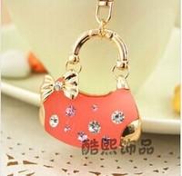 New Creative Novelty Fashion Rhinestone Bow Handbag Keychains Bag Key ring holder Trinket Souvenir for Women Girl Jewelry