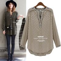 2014 Spring Hot New European Loose Plus Size Women Blouses Fashion Long Sleeve V-neck Polka Dots Camisa Feminina 4210