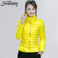 HOT Winter Women's Coats Casaco Feminino Inverno 2014 Slim Office Epaulet Zippers Ladies Coat Casacos Plus Size  Down SAMMY0071