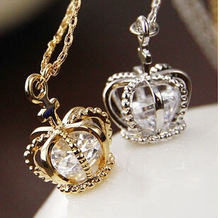 [mix $5]free shipping Christmas gift classic crown necklace rose gold plated hand made fashion jewelry