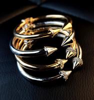hot 2014  Free shipping new arrival  Vita fe * de letters with rivets gold metel bangles bracelet