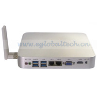 Free Shipping DHL Mini Fanless PC 2GB RAM 160GB HDD Wireless Micro PC Windows XP/ Windows 7 Alloy ITX Case Dual Core Mini PC