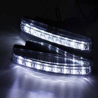 One Pair Car Daytime Running Light LED DRL Auto Universal Wihte 12V DC 8 LED 6000k Super Bright  Day Light