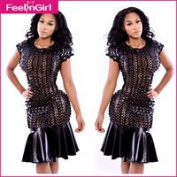 Promotion!  Pub Nightclub Party Midi Club Dresses Popular Black Cheap Bandage Mesh Dress Fashion Female Vestidos Cheap Clothes