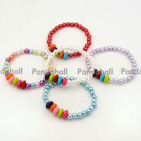 Acrylic Pearl Beads Stretch Bracelets for Kids, Children's Day Gifts, with Colorful Acrylic Abacus Beads, Mixed Color, 45mm