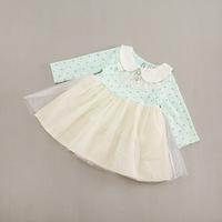 2014 New,baby girls princess dress,children autumn dot dress,long sleeve,lace embroidery,4 colors,5 pcs / lot,wholesale,1486