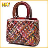2015 Women Tote Bags Hot Genuine Leather Handbag Vintage Shoulder Bag British Style Woven Satchel