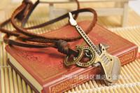 Retro Vintage Fashion Men Women Genuine Leather Chain Copper Alloy Guitar Pendant Necklace Necklaces Jewelry Men Women K-651