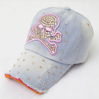 Korea Trendy diamond skull washed denim baseball cap visor cap hat wholesale ladies casual