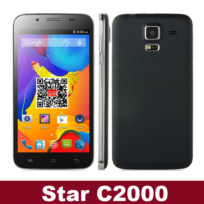 Star C2000 MTK6582 Quad Core 1.3GHz Android 4.4 5.0 Inch Smart phone 512MB RAM 4GB ROM 8.0MP back camera 3G GPS OTG WiFi(China (Mainland))