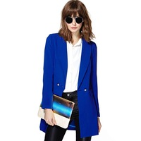 asymmetrical hem two metal buckle wide shawl collar woman suit for free shipping and wholesale haoduoyi