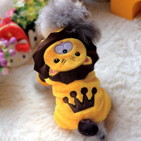 Senior Flannel Yellow Winter 2014 New Crown Lion Puppy XXS/XS/S/M/L Dog Clothes PT921 Warm Yorkshire Cat Overalls Products