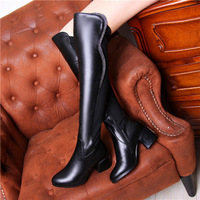 New 2014 spring autumn   Black over  knee-heigh botas women shoes heel high 6cm full  rhinestone women shoes Free shipping