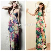 Hot 2014 New Summer Charming Sexy Strapless Beading Big Floral Print Wave Women Silk Long Beach Holiday Boho Dress Freeshipping