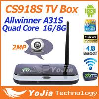 1pc Original CS918S 1G/8G Android 4.4 TV BOX 2.0MP Camera Mic Allwinner A31S Quad Core XBMC Bluetooth HDMI Media Player