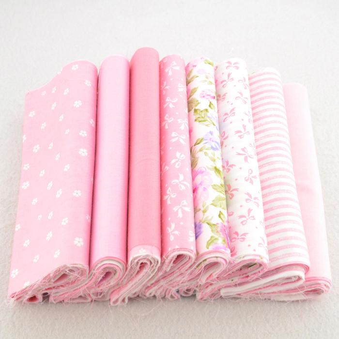 8 Pieces 20cmx50cm pink patchwork fabric bundle 100% cotton cloth home textile quilting bedding tilda sewing supplies W3B6-12(China (Mainland))