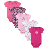 5Piecs/lot 2014 Summer High Quality Short Sleeve Baby Rompers Brand Infant Rompers Newborn Clothing Set Free Shipping