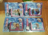 2014 frozen Cute Cartoon Child Quartz Wrist Watch/Clock with One Purse/Wallet/Pocket for Boys and Girls,Kids  Gift  100pcs/lot