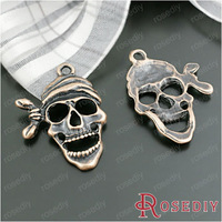 (28268)Jewelry Findings,Charms,Pendants,25*19MM Antique Copper Alloy Skull 30PCS
