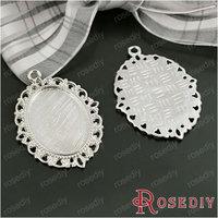 (28269)Jewelry Findings,Charms,Pendants,Size:36*29MM,Inside size:25*18MM Imitation Rhodium Alloy Cameo settings 10PCS