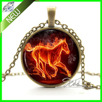 1Pcs Fantasy Jewelry - Fire Horse Necklace Pendant - Unique Art Picture Gifts for Her Women Link Chain Glass Cabochon Necklaces