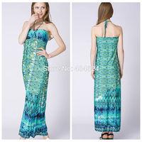 2014 Hot Summer Vintage Refreshing Bohemian Sexy Strapless Beading Floral Print Wave Women Milk Silk Long Seaside Beach Dress