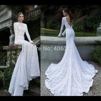 2014 Fashion White Lace Wedding Dress Elegant Full Sleeves Mermaid Open Back Wedding Dress Court Train
