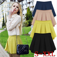 Fashion Sexy Mini Skirts Women Chiffon Casual Shorts Summer Pleated Short Skirts Skater Skirt  2014 New 4 Solid Color S~XXL